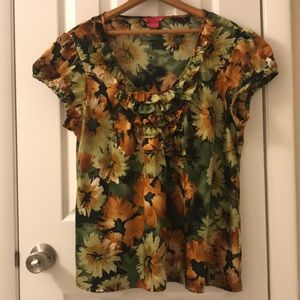 5/$25 Sunny Leigh fall colors top in XL